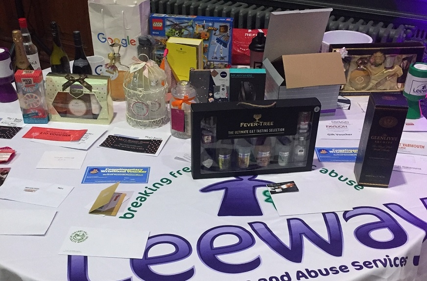 prizes in the Leeway annual ball raffle