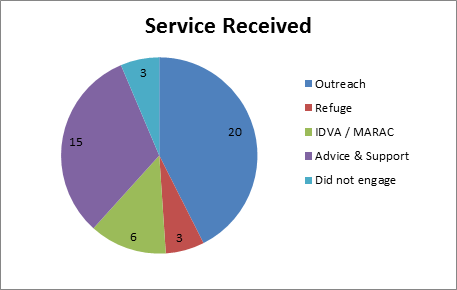 pie chart service received