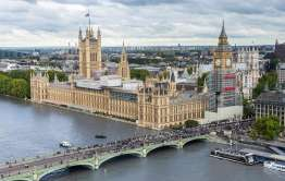 palace of Westminster from a drone