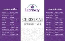 leeway christmas opening times
