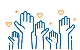 line drawing of raised hands to represent crowd funding for charity